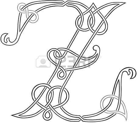 A Celtic Knot-work Capital Letter Z Stylized Outline