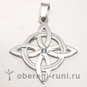 Четырехлистник (кельтский крест) из серебра с фианитом