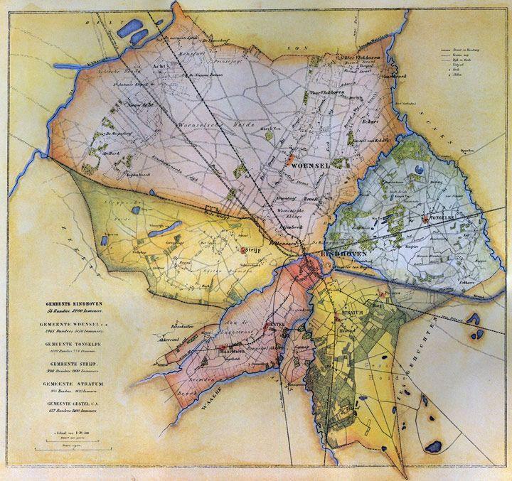 Kaart Eindhoven en dorpen 1865. *