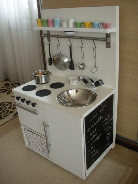 DIY play kitchen i.e. ikea using • Grundtal rail   • Grundtal S hook   • Lansa handle   • Panna black coaster   • Svep knob  • Duktig toy kitchen accessories