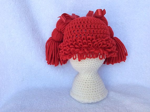 Cabbage Patch Knit Hat With Fringe And Pigtails Pattern : 1000+ ideas about Cabbage Patch Hat on Pinterest Cabbage patch, Crochet bab...