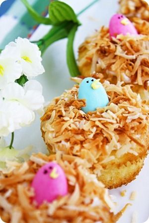 Bird's nest cupcakes (homemade vanilla cupcakes with cream cheese frosting and toasted coconut) - love how she turned the eggs on top into little birds!