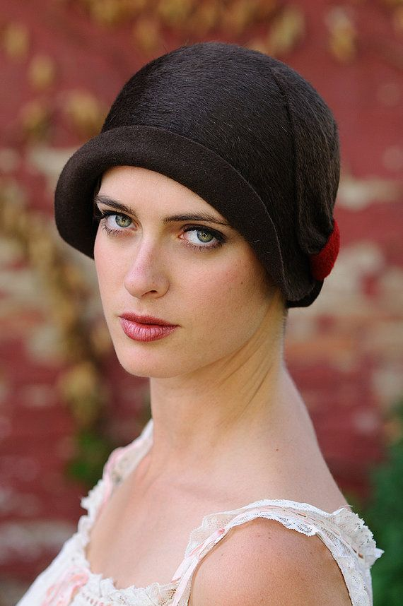 Chocolate Brown Cloche with Red Detail