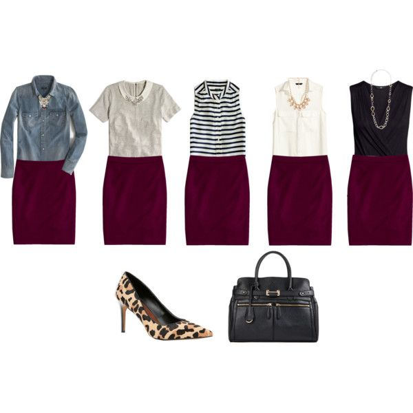 """""""Wine colored pencil skirt outfit ideas"""" by connie-nicole on Polyvore"""