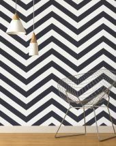 Papier peint CHEVRON Expansé sur intissé motif géométrique, Noir et blanc | Saint Maclou