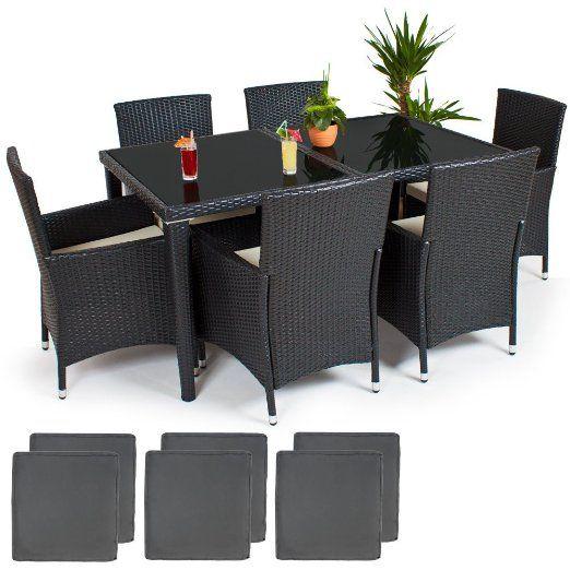 Good TecTake POLY Rattan Aluminium garden furniture garden dining set seater in u