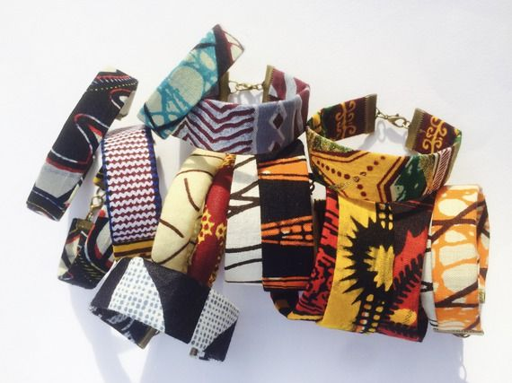 Bracelet ethnique en tissu africain pagne wax