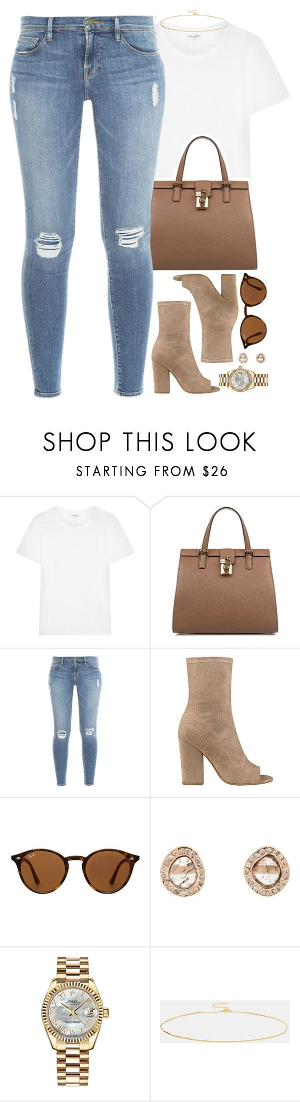 """"""""""" by daisym0nste ❤ liked on Polyvore featuring Yves Saint Laurent, Dolce&Gabbana, Frame, GUESS, Ray-Ban, Dezso by Sara Beltrán, Rolex and ASOS"""