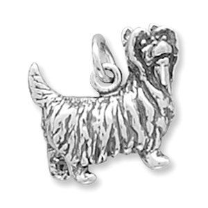 SALE Yorkshire Terrier Charm Sterling Silver Dog 3d Yorkie  Pendant Marked 20% off Regular Price