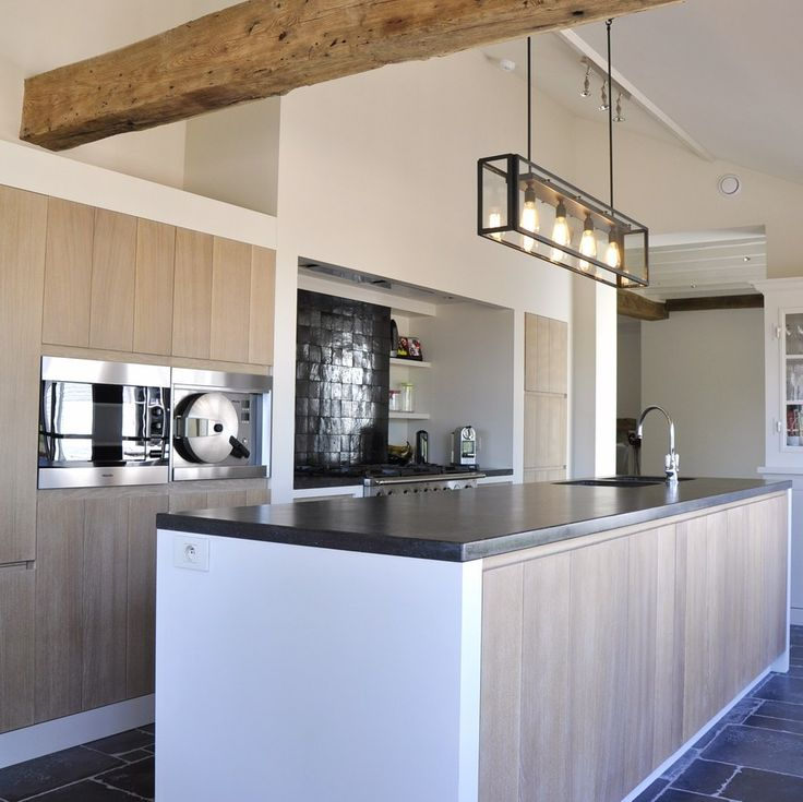 natural element of wood and slate - contemporary country kitchen