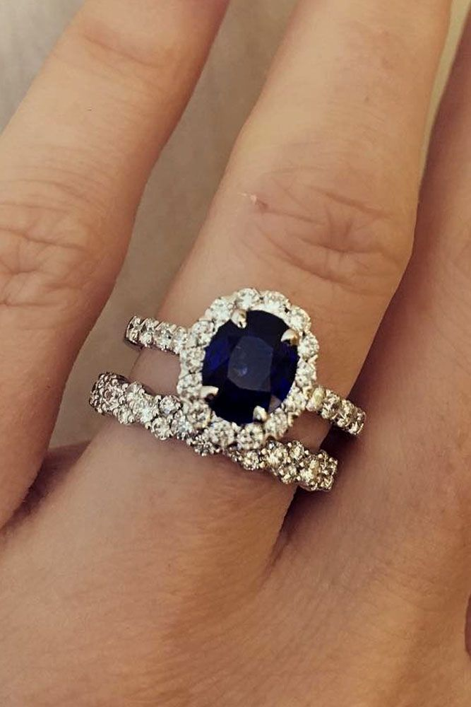18 Magnificent Sapphire Engagement Rings ❤️ sapphire engagement rings oval cut pave band diamond wedding set halo ❤️ More on the blog: https://ohsoperfectproposal.com/sapphire-engagement-rings/ #weddingring
