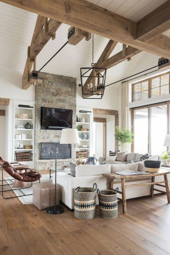 Modern Rustic Living Room Add Some Color With A Rug And Accents Decorationsforbedroom Deco Modern Rustic Living Room Farm House Living Room House Interior
