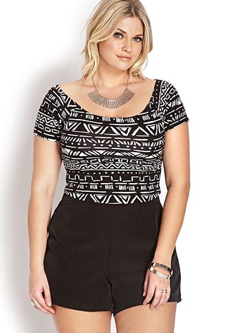 Well Traveled Off-The-Shoulder Crop Top | FOREVER21 PLUS - 2000090009 Who says plus size chicks can't rock crop tops? #F21Crush