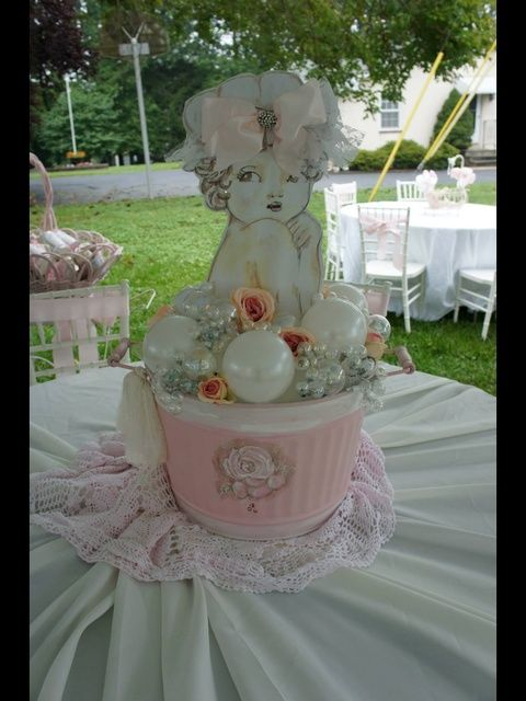 shabby chic baby shower ideas | Pink and White shabby chic Baby Shower Party Ideas | Photo 4 of 35 ...