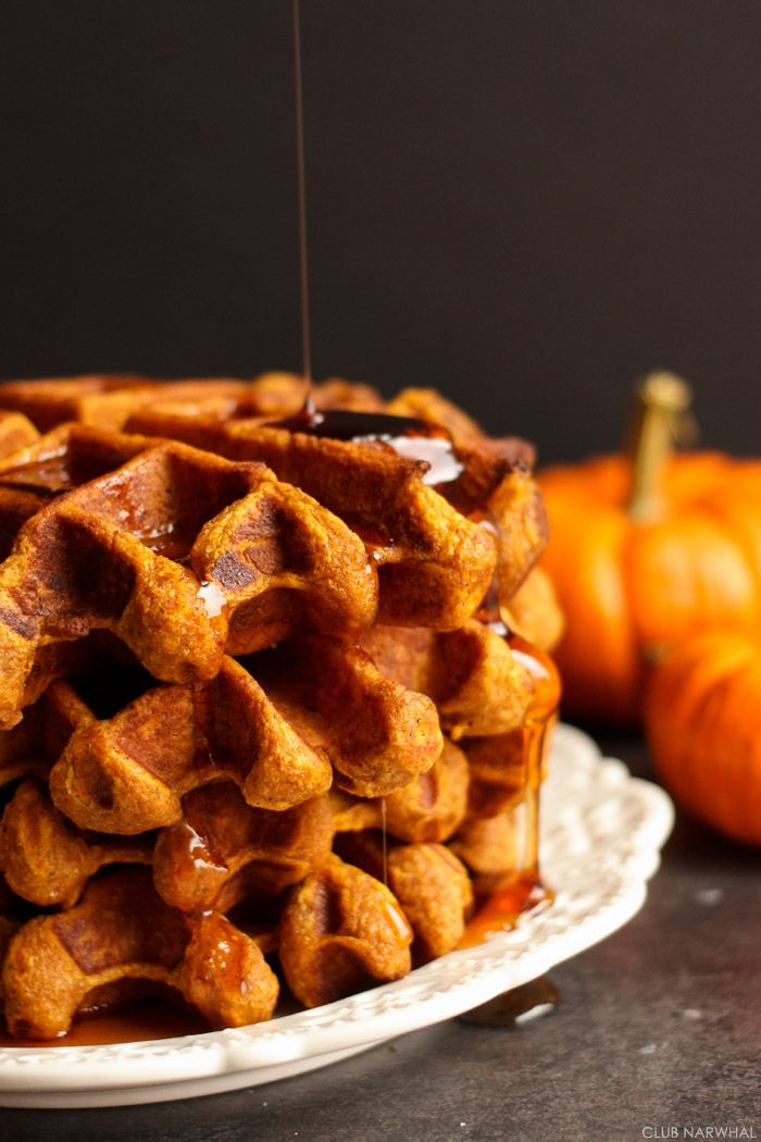 These Pumpkin Belgian Waffles are perfectly crisp on the outside and fluffy on the inside. Drowned in a pool of pure maple syrup, they are the best way to spend a crisp autumn morning!