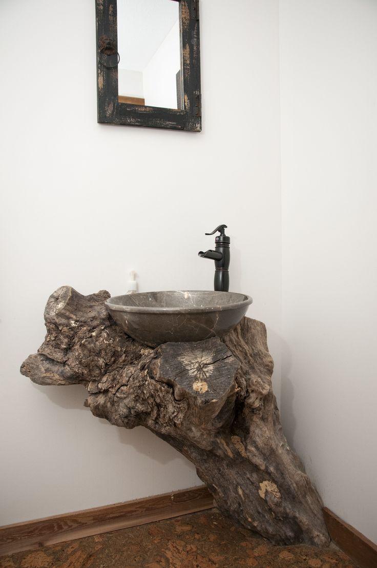 Photo of Log trunk sink makes a unique bathroom. www.shewsdesign.com