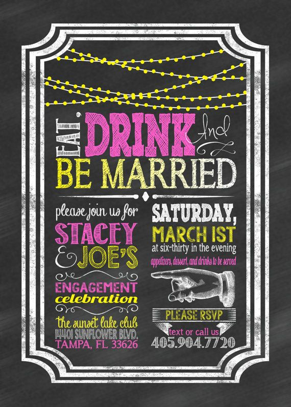 Chalkboard Engagement Invitation Just Engaged by CLaceyDesign