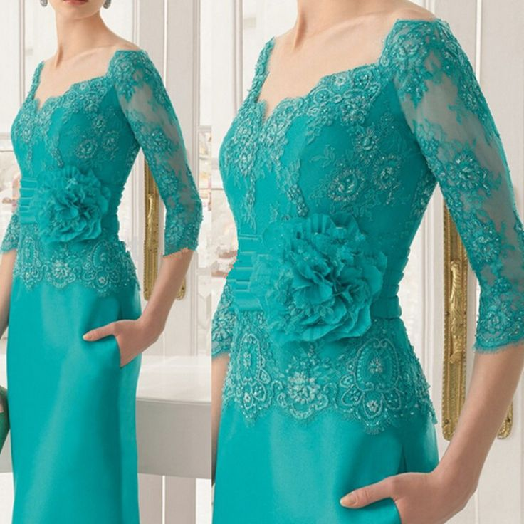 2017 Fashion mother fitted V-neck turquoise sleeve chiffon applique fishtail skirt pocket belt