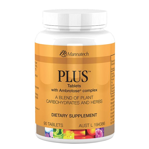 PLUS with Ambrotose® complex   Mannatech The PLUS tablets include a unique blend of standardised nutrients including phytohormones, plant based steroidal saponins, and glyconutrients to help maintain good health. The PLUS tablets are designed to promote general well-being which is achieved through Mannatech's formulation of Dioscorea and Ambrotose® complex. http://au.mannatech.com/real-products/health/plus/
