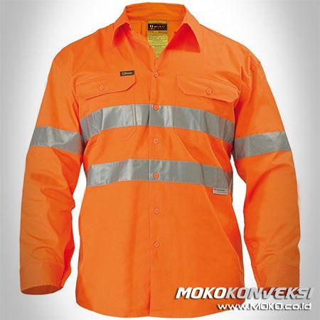 Desain Baju Seragam Keselamatan Kerja Wearpack Safety Lengan Panjang Warna Orange.