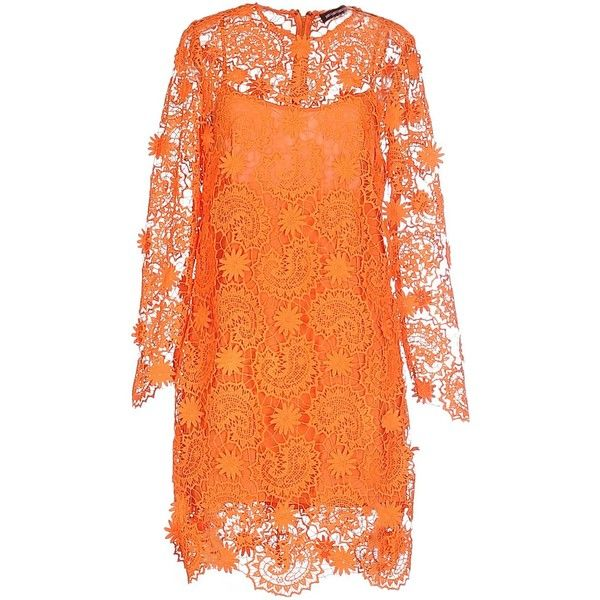 House Of Holland Short Dress ($119) ❤ liked on Polyvore featuring dresses, orange, long-sleeve lace dresses, orange dresses, orange lace dress, long sleeve slip dress and long sleeve mini dress