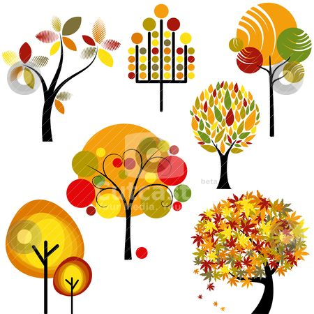 fall clip art | autumn tree stock vector clipart, set of abstract colorful autumn ...