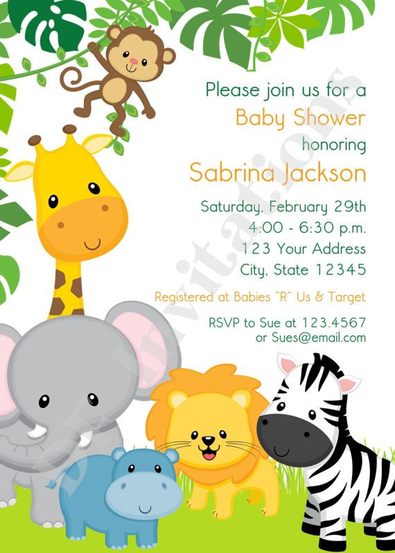 This adorable Jungle baby shower invitation comes customized with your party information.  Invitations are printed on 5X7 100 lb smooth white card stock.  ::::::::::::::::::::::::::::::::::::::::::::::::::::::::::::::::::::::::::::::::  PRICING: Each invitation is 99¢ each (white envelope is included). *please note there is a minimum order of 15 invitations. *5X7 digital file is available for $14.99. Please send us a message if youd like to purchase…