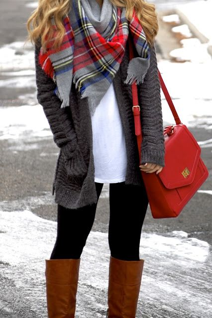 Pair any plain white tee with a gray cardigan and your favorite plaid scarf. Top it off with a red handbag and your favorite boots!