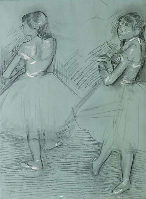 By Edgar Degas (1834-1917), ca. 1879, Two Dancers, Charcoal and white chalk on green paper.