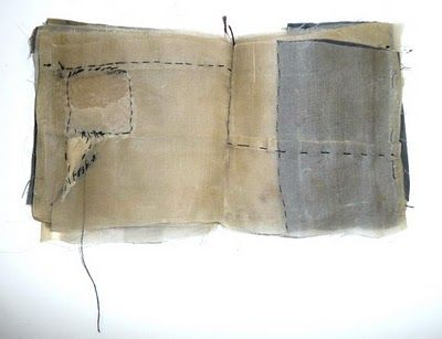 Noella Mills ... Waxed book 100 x 100mm, recycled kimono silks, waxed and stitched, wabisabiart.blogspot.com