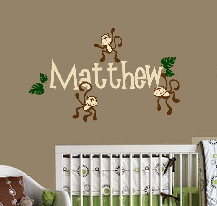 monkeys hanging with name vinyl wall decals nursery room decor - Monkey Bedroom Decor