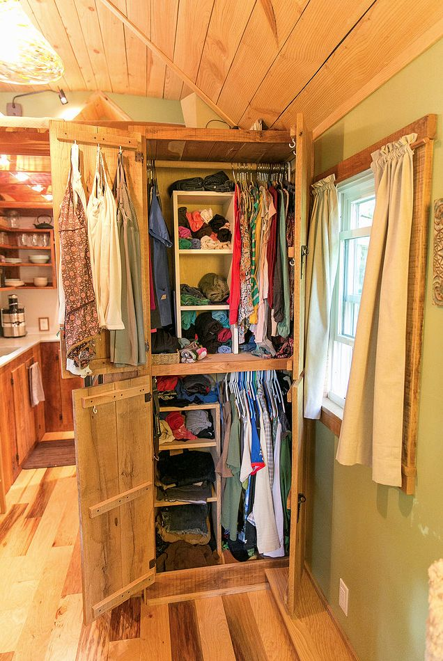 Accessible closet in Wind River Custom Homes tiny house. Very nice layout.   Tiny Homes