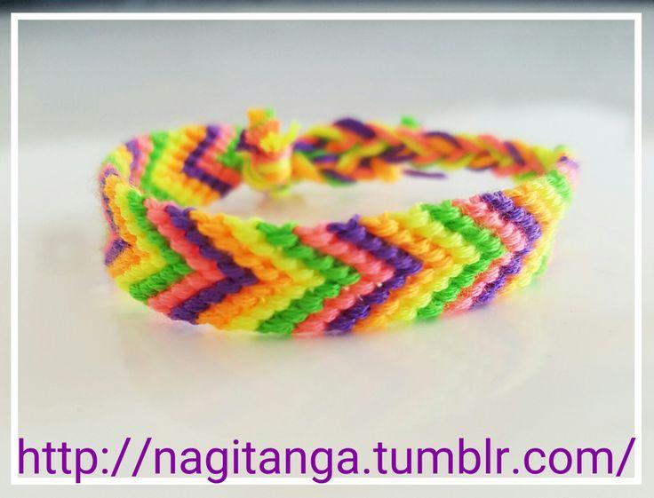 Freundschaftsarmband in neon farben - pfeilmuster - #knüpfen #armband #bracelets #freundschaftsbändchen