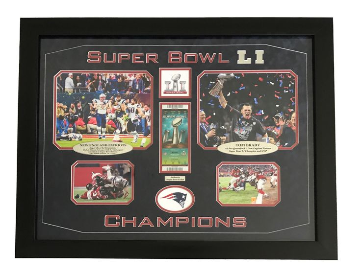 AUTHENTIC SUPER BOWL 51 NEW ENGLAND PATRIOTS TICKET FRAMED COLLAGE LI TOM BRADY EDELMAN