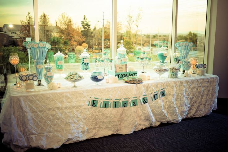 Tiffany Themed Sweet 16 Party #candystation #dessertbar #CandeeBySandee