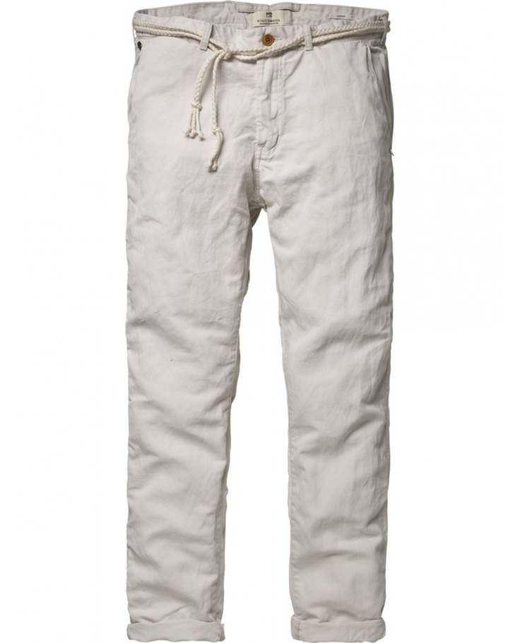 Chino beach pants with cord belt