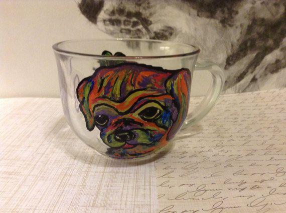 Tea Dog Mug Hand Painted Glass Mug Coffee Mug by FeltCatCave