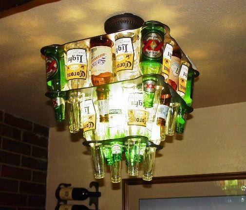 Man Cave must: Games Rooms, Woman Cave, Bottle Lights, Beer Bottle Chandeliers, Basements Bar, Bar Area, Men Caves, Bachelor Pads, Bar Lights
