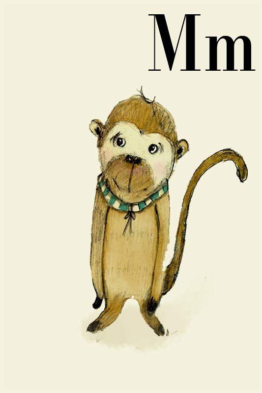 M für Monkey - Alphabet Kunst - Alphabet drucken - ABC Wandkunst - ABC Drucken - Kinderzimmer Kunst - Kinderzimmer Dekoration - Kids room De...