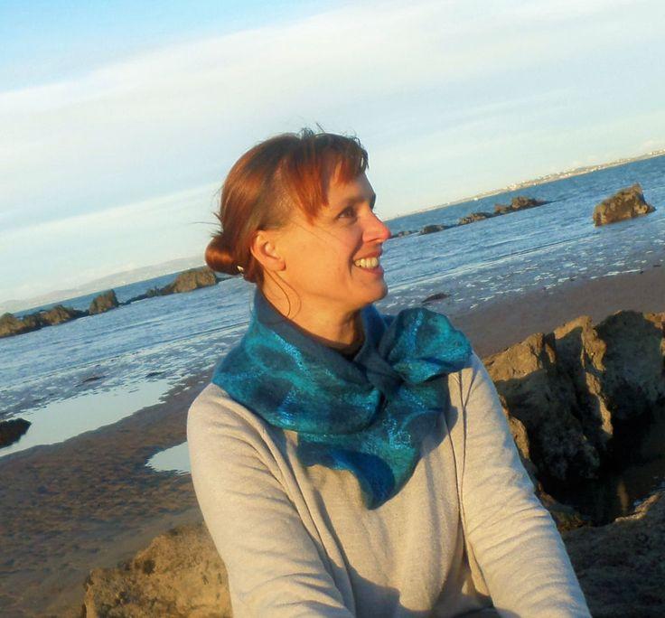 Atlantic Collection : Dark Blue Felt Ruffle Collar by FeltbyJayneGillan on Etsy