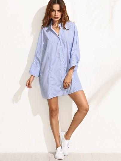 Синее полосатое платье-рубашка