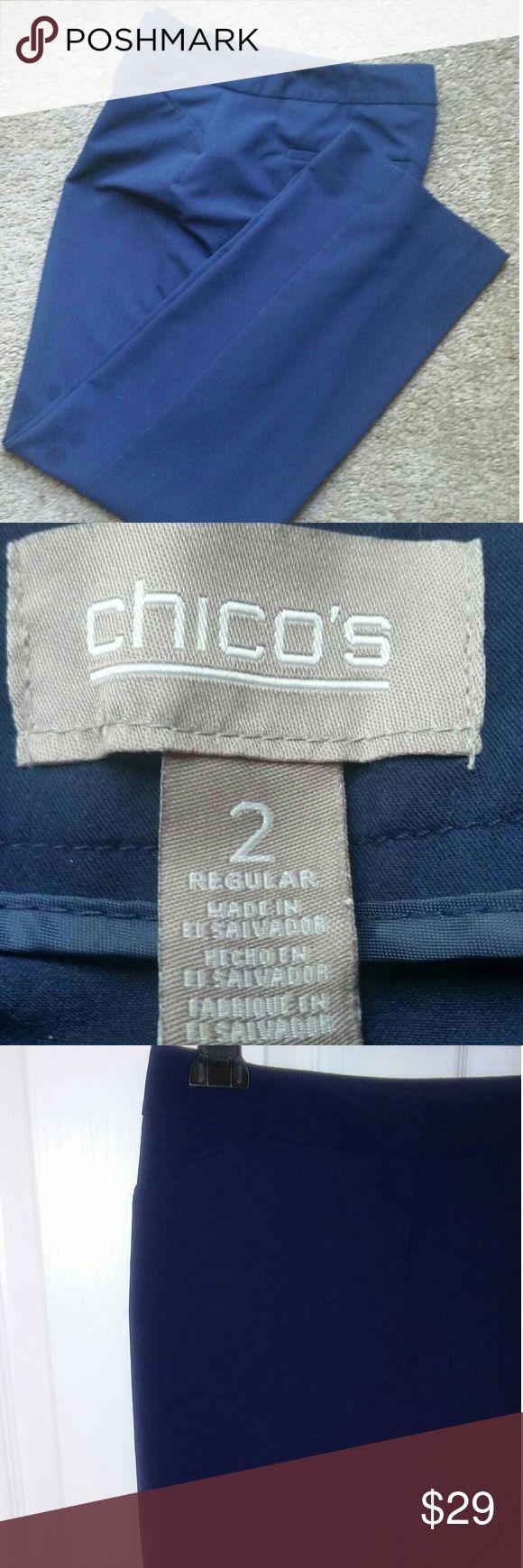 Chico's Navy Blue dress pants sz 2 (regular L/12) Nice light summer weight fabric.. Chico's Pants