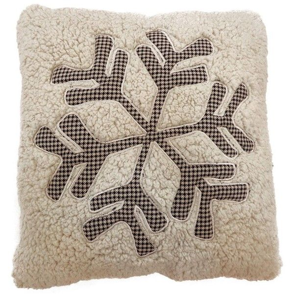 St. Nicholas Square Sherpa Snowflake Throw Pillow (White) ($17) liked on Polyvore featuring home ...