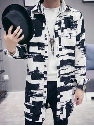 Turn-down Collar Long Sleeve Abstract Print Coat For Men in White | Sammydress.com Mobile