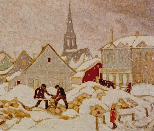 Albert H. Robinson - Sawing Wood St. Tite Des Caps 22 x 26 Oil on canvas (1928)