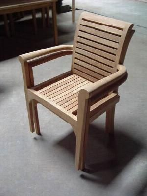 Barcelona Stacking Chair Audia Solid Teak Teka Outdoor Garden Furniture Bali…