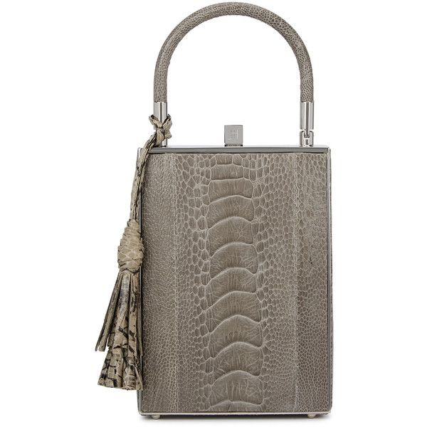 Jill Haber Sebastian Taupe Ostrich Box Bag (9.710 DKK) ❤ liked on Polyvore featuring bags, handbags, embellished purse, brown bag, top handle purse, top handle handbags and decorating bags
