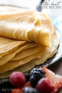 The Best Crepe Recipe | Chef in Training 2 cups flour 4 eggs 1 cup milk 1 cup water ½ teaspoon salt 4 Tablespoon butter, melted 4 teaspoons sugar if you are making dessert crepes, don't add if they are for savory crepes.