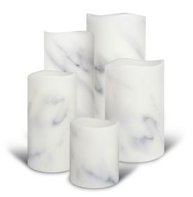 Carrara marble flamesless wax candles