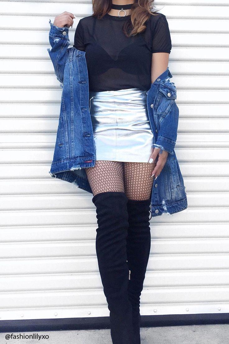 Metallic Faux Leather Skirt